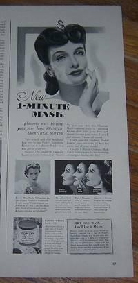 1942 POND'S VANISHING CREAM MAGAZINE ADVERTISEMENT WITH MRS. DAVID S.  GAMBLE JR.