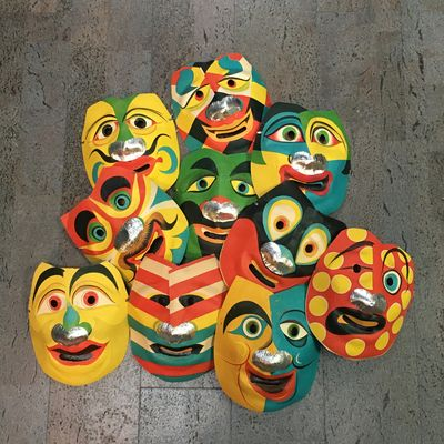 Japan, . Each of the masks measures 7 1/2
