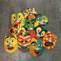 10 Different Molded paper Halloween Masks