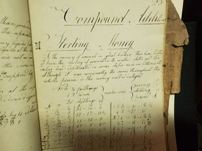 David St. Johns. A cyphering book (1818) kept by David St. Johns for calculating the differences bet...