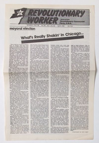 Chicago: Revolutionary Worker, 1983. 11x17 inch broadside printed both sides, horizontal fold. Repri...