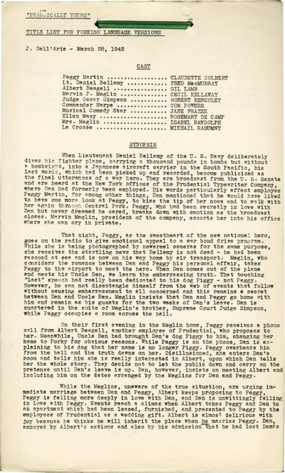 Hollywood: Paramount Pictures, 1945. Post-production Title List for Foreign Language Versions script...