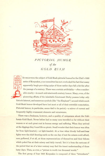 San Francisco: The Book Club of California, 1953. First Edition. Very Good/Good. Grabhorn Press. Kee...