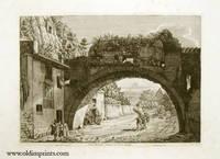 Veduta delle antiche sostruzioni del Monte Aventino. A. Monte Aventino. B. Romitorio. C. Piramide di Cajo Cestio