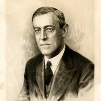 Large Signed Engraving of Woodrow Wilson Dated 1915.