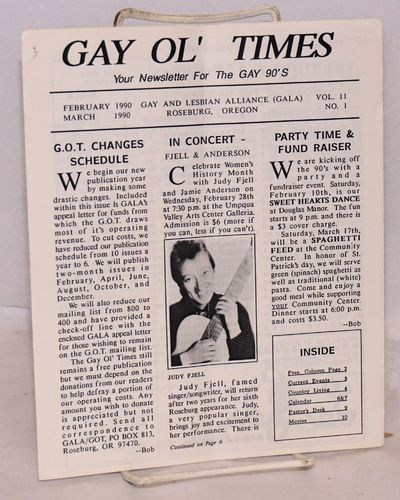 Roseburg, OR: GALA, Gay and Lesbian Alliance, 1990. 12p. newsletter, sheets folded to 7x8.5 inches, ...