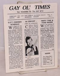 image of Gay Ol' Times: Gay and Lesbian Alliance newsletter; vol. 11, no. 1, February/March 1990