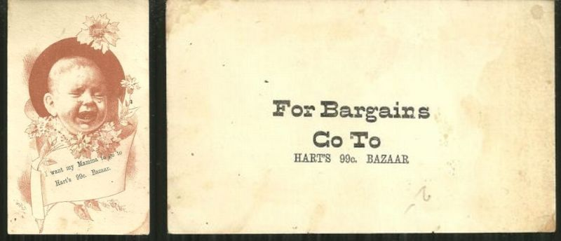 Image for VICTORIAN TRADE CARD FOR HART'S .99 BAZAAR