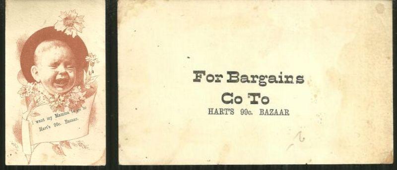 VICTORIAN TRADE CARD FOR HART'S .99 BAZAAR, Advertisement