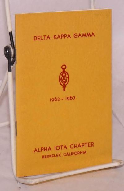 Berkeley: Alpha Iota Chapter, 1962. 3.5x5.5 inches, very good handbook in original stiff yellow stap...