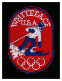 image of Vintage Whiteface U.S.A. Ski Patch with Olympic Rings. Embroidered Souvenir Patch, Oval, 3