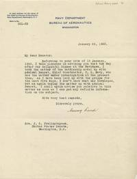 "TLS. 1pg. January 22, 1923. Washington, DC. A typed letter signed ""Emory Land"" to Senator J. S. ..."