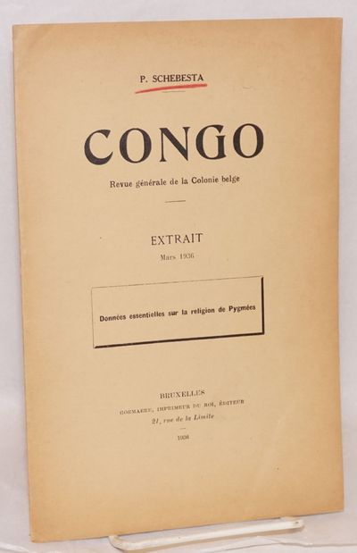 Bruxelles: Goemaere, Imprimeur du Roi, Éditeur, 1936. 11p., 6.25x9.5 inches, text in French, evenly...