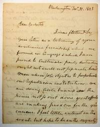 AUTOGRAPH LETTER SIGNED, TO JUDGE WILLIAM ROCHESTER OF BATH, STEUBEN COUNTY, NEW YORK. FROM WASHINGTON, 31 DECEMBER 1823, DISCUSSING POLITICAL MATTERS IN WASHINGTON AND THE UPCOMING CONTEST FOR SPEAKER OF THE HOUSE