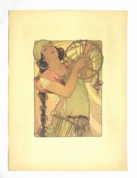 Rare color lithograph heightened in gold by Alphonse Mucha for L'Estampe Moderne on Japan paper