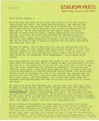 image of TYPED LETTER SIGNED by JON WEBB, founder, with his wife Louise (Gypsy Lou), of LOUJON PRESS.