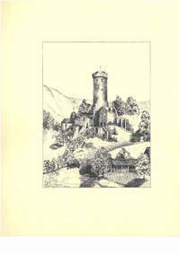 Ruine Eppstein im Taunus [Hessen, Deutschland], ca. 1950. Schwarze Tusche und Bleistift auf weißem Papier. Vom Künstler l. u. mit schwarzer Tusche betitelt und signiert \