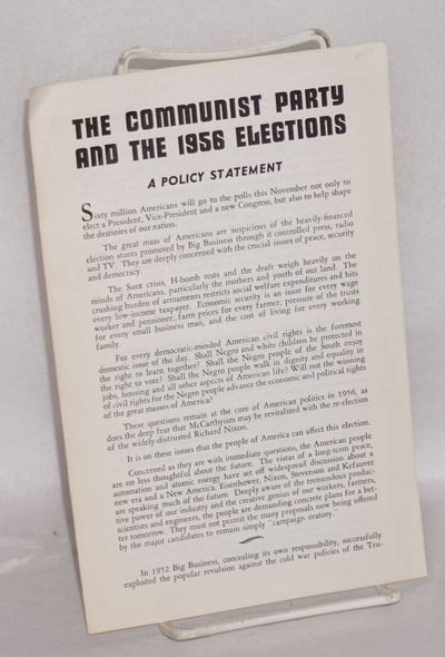 San Francisco: Communisty Party of California, 1956. Pamphlet. Four panel brochure, rear panel brown...