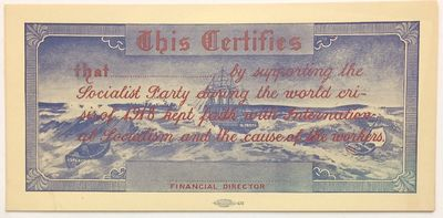 Chicago: the Party, 1918. 8.25x4 inch sheet with blank space for filling out the name of a financial...