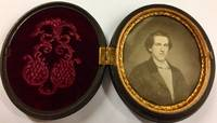 Ninth Plate Oval Floral Union Case with Hand-Tinted Daguerreotype Portrait  of Man
