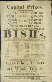 image of English Lottery handbill with song on verso