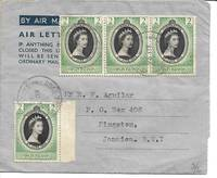 image of 1952 Air Mail Letter Cover - British Virgin Islands to Jamaica, BWI