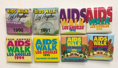 Los Angeles: AIDS Walk, 1990. 1.5 x 1.5 inch square pins, very good, for all the years between 1990 ...