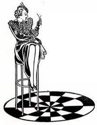 Art deco girl with drink on stool