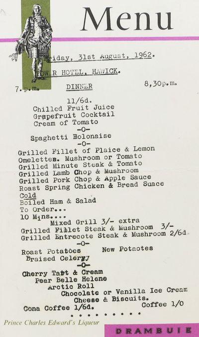 (n.d.), 1962. 1st Printing. White paper, printed in black, pink and green. Menu items typed in black...