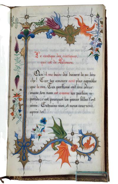French Illuminated Manuscript in ink