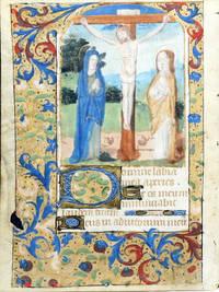 Illuminated Manuscript Leaf on Vellum: The Crucifixion