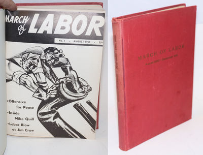 New York: March of Labor Inc, 1951. Magazine. Bound volume, with cover bound in, various pagination,...