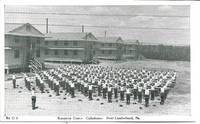 image of WWII Era Recruits Performing Calesthenics @ US Army Reception Center, New Cumberland, PA - 1940s War Bonds Promotional Postcard