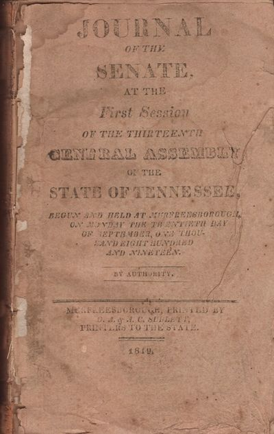 Murfreesborough: C. A. & A. C. Sudlett, Printers to the State, 1819. Hardcover. Poor. 12mo. 333 page...
