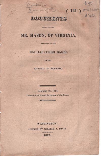 Washington: William A. Davis, 1817. Pamphlet. Very Good. Pamphlet. Very Good pamphlet. In beige pape...
