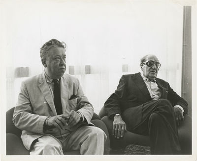 N.p.: N.p., 1967. Vintage photograph of Fritz Lang with film historian Herman G. Weinberg at the Fre...