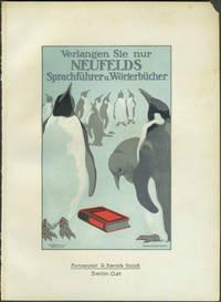 """image of Penguin illustration: """"Verlangen Sie nur Neufelds Sprachfuhrer u. Worterbucher"""". Chromolithograph handbill"""