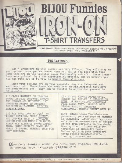 Chicago: Bijou Publishing Empire. 1970. First Printing. Iron-on T-Shirt Transfers, never used and ne...