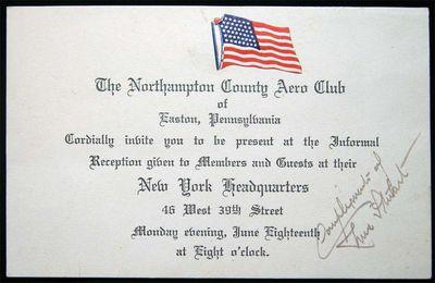 Easton, PA: The Northampton County Aero Club, 1917. Invitation card, printed black on cream cardstoc...
