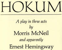 image of Hokum: A Play In Three Acts  - 1st Edition