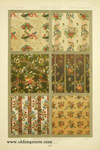 XVIIIe Siecle - XVIIIth Century - XVIIItes Jahrundert.  Color lithograph from L'Ornement des Tissus 1877).