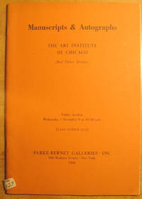 Manuscripts and Autographs: The Art Institute of Chicago and Other Owners; November 9, 1966; Sale Number 2474