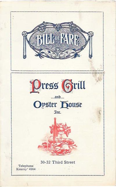 San Francisco: The Hansen Co, 1930. 1st Printing. White card stock, navy blue and red lettering, now...