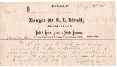 Vermont, 1885. Letter. Good. East Corinth, Vermont. August 17th, 1885. Friend Isaac: I have got to m...