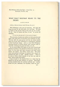 WHAT WALT WHITMAN MEANS TO THE NEGRO [caption title]