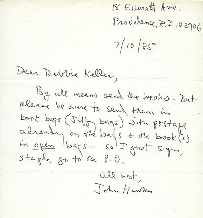 1985. Dated July 10, 1985, Hawkes responds to a effort to get some of his books signed through the m...