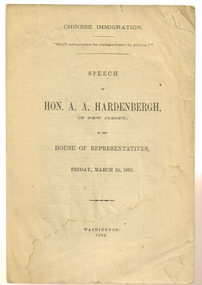 Washington. Good. 1882. First Edition. Softcover. Softcovered pamphlet issued without wraps. Light s...