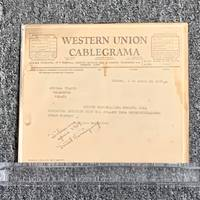 ORIGINAL WESTERN UNION CABLEGRAMA SIGNED AND INSCRIBED BY HEMINGWAY