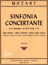 Sinfonia Concertante, K.297b - for Piano, Two Violins, Viola and Cello (Anh. I.9) [PIANO FULL SCORE & FOUR STRING PARTS]