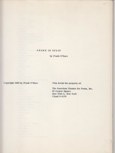 Mew York: The American Theatre for Poets, Inc. 1960. First Edition; First Printing. Softcover. Wraps...